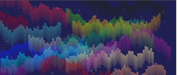 Pixelized Image of aurora borealis